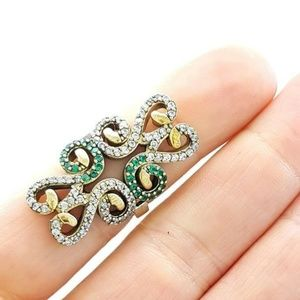 Hurrem Sultan .925 EMERALD/TOPAZ Ring SZ 9
